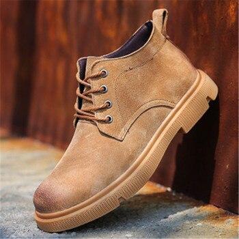 белые кожаные кроссовки на платформе | Мужские водонепроницаемые мужские кожаные ботинки высокие кроссовки осенне-зимняя белая обувь на шнуровке Повседневная обувь мужские хип-...