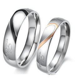 Engagement Wedding Rings for Men Women Engraved Real Love Couple Ring Stainless Steel Trendy Jewelry Valentine's Day Gift