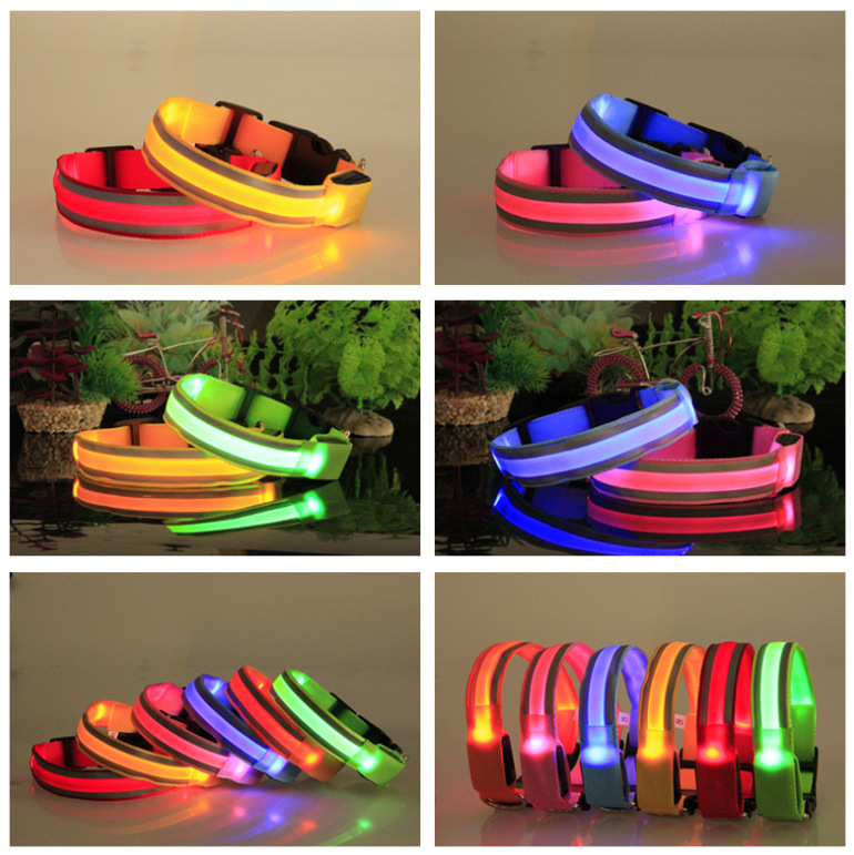 Outdoor Pet Supplies Safe Cross Anticollision No Electricity Safe Pet Dog Collar LED Luminous Collar Dog