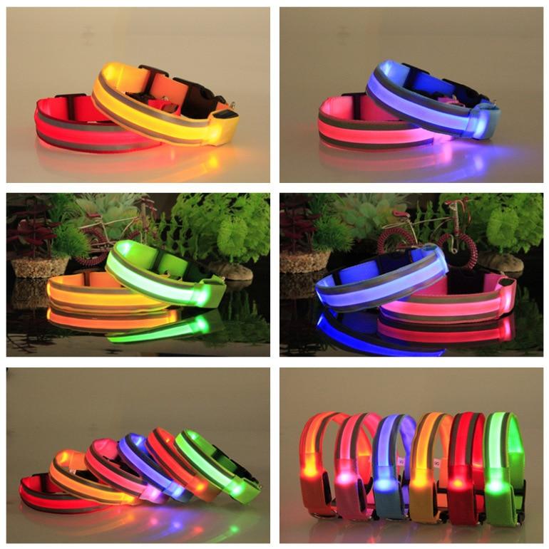Outdoor Pet Supplies Safe Cross Anticollision No Electricity Safe Pet Dog Collar LED Luminous Collar Dog