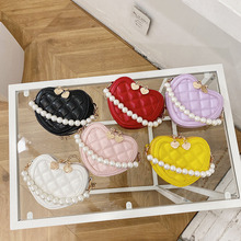 New Small Heart Coin Wallet Pouch Baby Girls Party Pearl Hand Bags Kids Purses Chic Crossbody Bag Ladies Chain Shoulder Bags