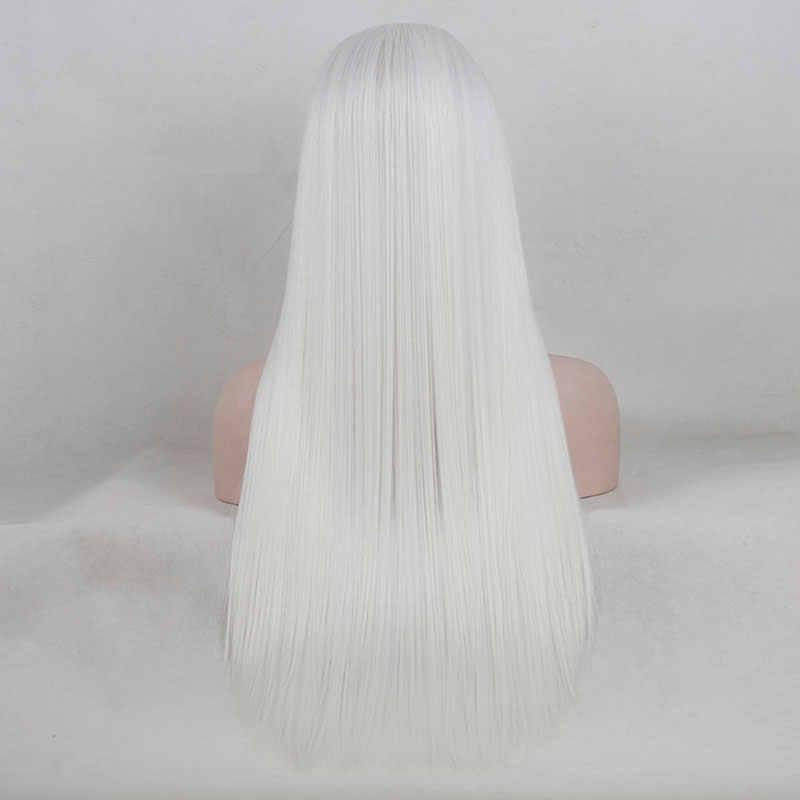 Bombshell белый цвет прямой синтетический парик фронта шнурка Жаростойкие Волокна волос естественная линия волос средний пробор для женщин парики