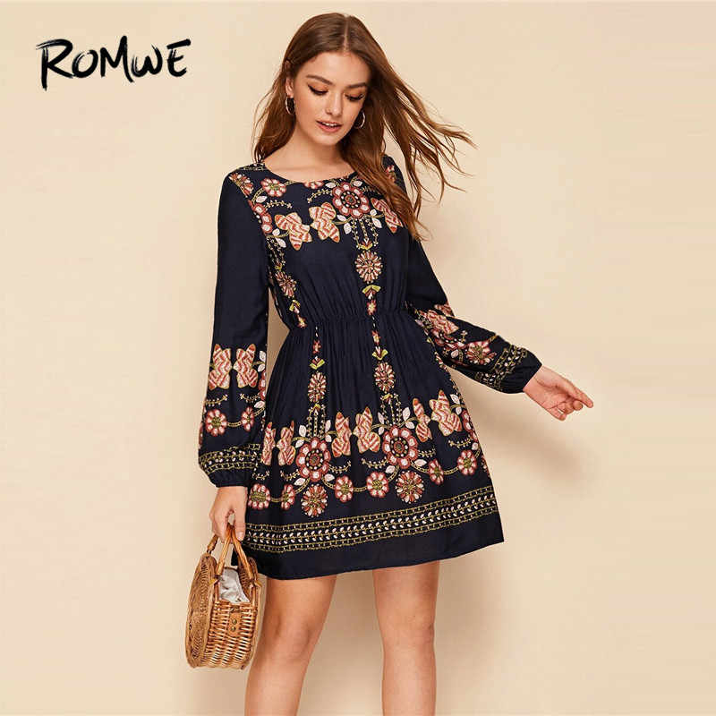 ROMWE Floral Print Elastic Waist Long Sleeve Dress Women Fall 2019 Boho Dress A Line High Waist Dresses Ladies Mini Dress