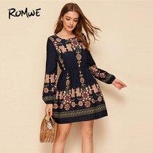 ROMWE Floral Print Elastic Waist Long Sleeve Dress Women Fall 2019 Boho Dress A Line High Waist Dresses Ladies Mini Dress цена 2017