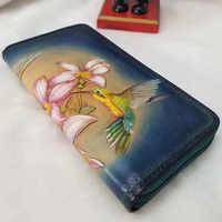 Винтажные кошельки ручной работы женский клатч кошелек бумажник Дамский зажим для карт на молнии кожаный кошелек для монет женский кошелек...