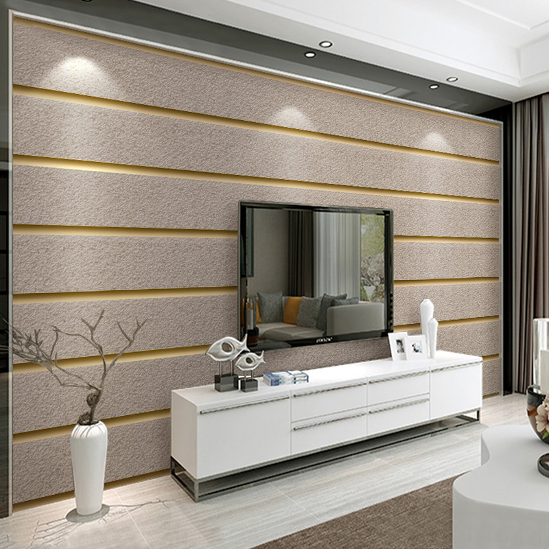 Horizontal Stripes Wallpaper For Walls 3D Suede Non Woven Fabric Modern Living Room Sofa TV Background Wall Papers Home Decor