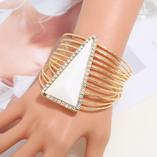 Lzhlq геометрический круглый многослойный проволочный браслет Модный Макси полиуретановый браслет для женщин модные ювелирные аксессуары
