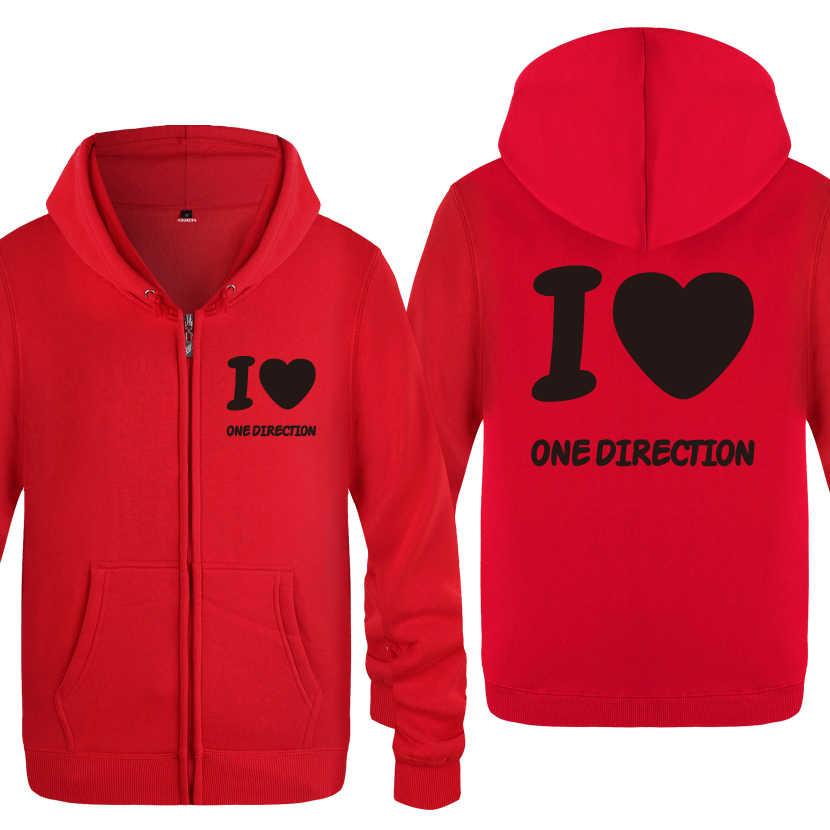 Eu amo uma direção 1d fãs sweatshirts masculino 2020 homens zíper com capuz velo hoodies cardigans