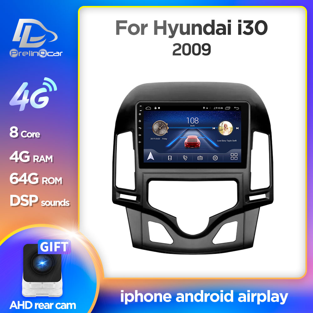 <font><b>Android</b></font> 9.0 System Car IPS Touch Screen Stereo For HYUNDAI I30 Automatic air conditioning player Stereo