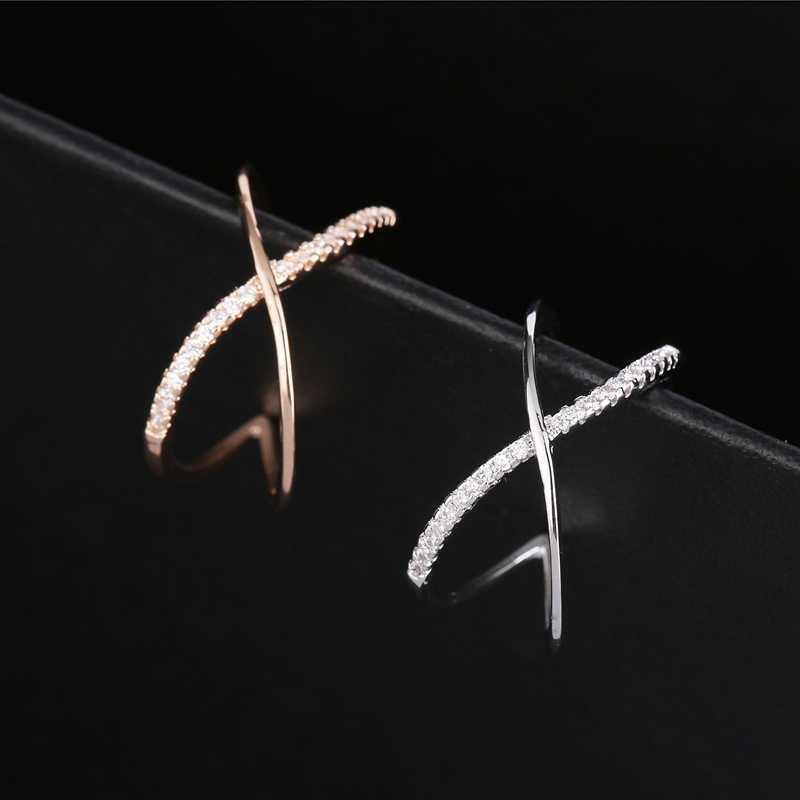 MIGGA croix conception Micro pavé cubique Zircon Bague ouverture mode femmes Bague Rose/or blanc couleur