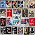 【YZFQ 】 хоккейная жизнь Оловянная металлическая табличка спортивные наклейки на стену для паба кафе магазин домашнего искусства Декор для т...
