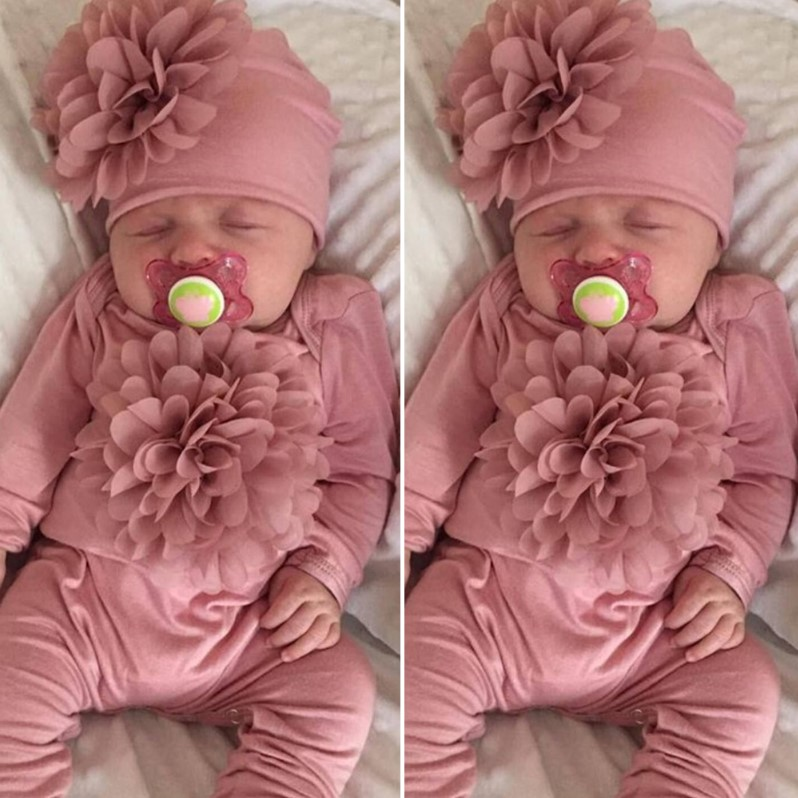 CYSINCOS Newborn Clothes Baby Girls Long Sleeve Rompers Pink Floral Jumpsuit Baby Toddler Hat Baby Girls Sets Clothing 2020