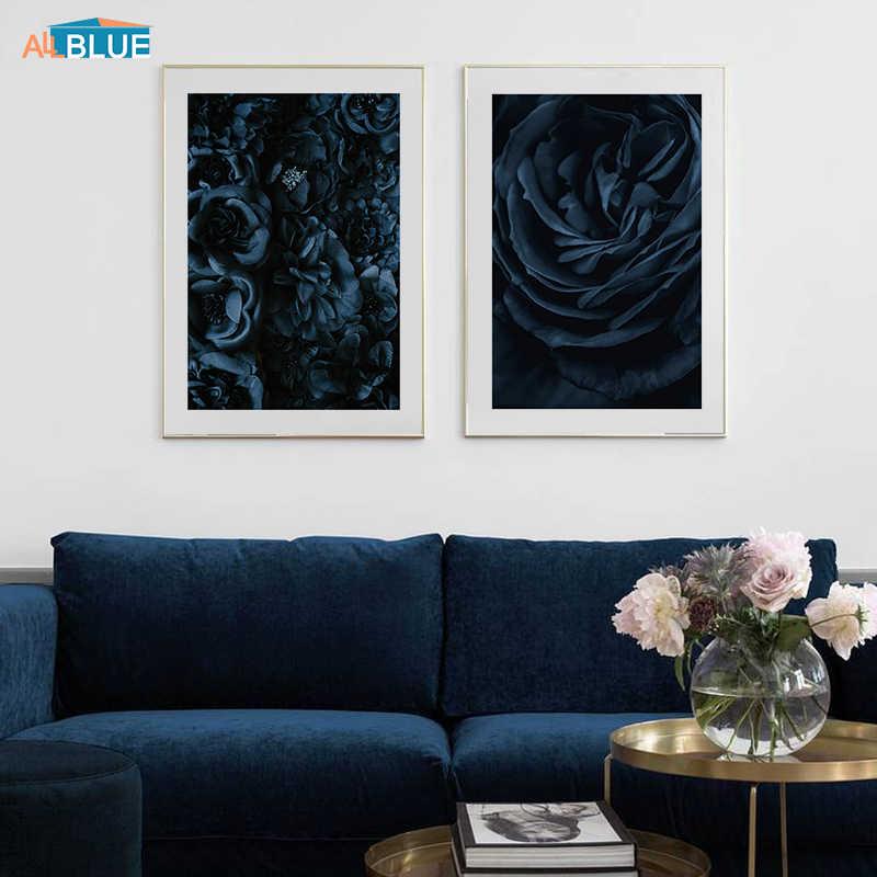 Modern Gelap Mawar Biru Kanvas Poster Nordic Bunga Dinding Seni Lukisan Dekorasi Gambar Skandinavia Dekorasi Rumah