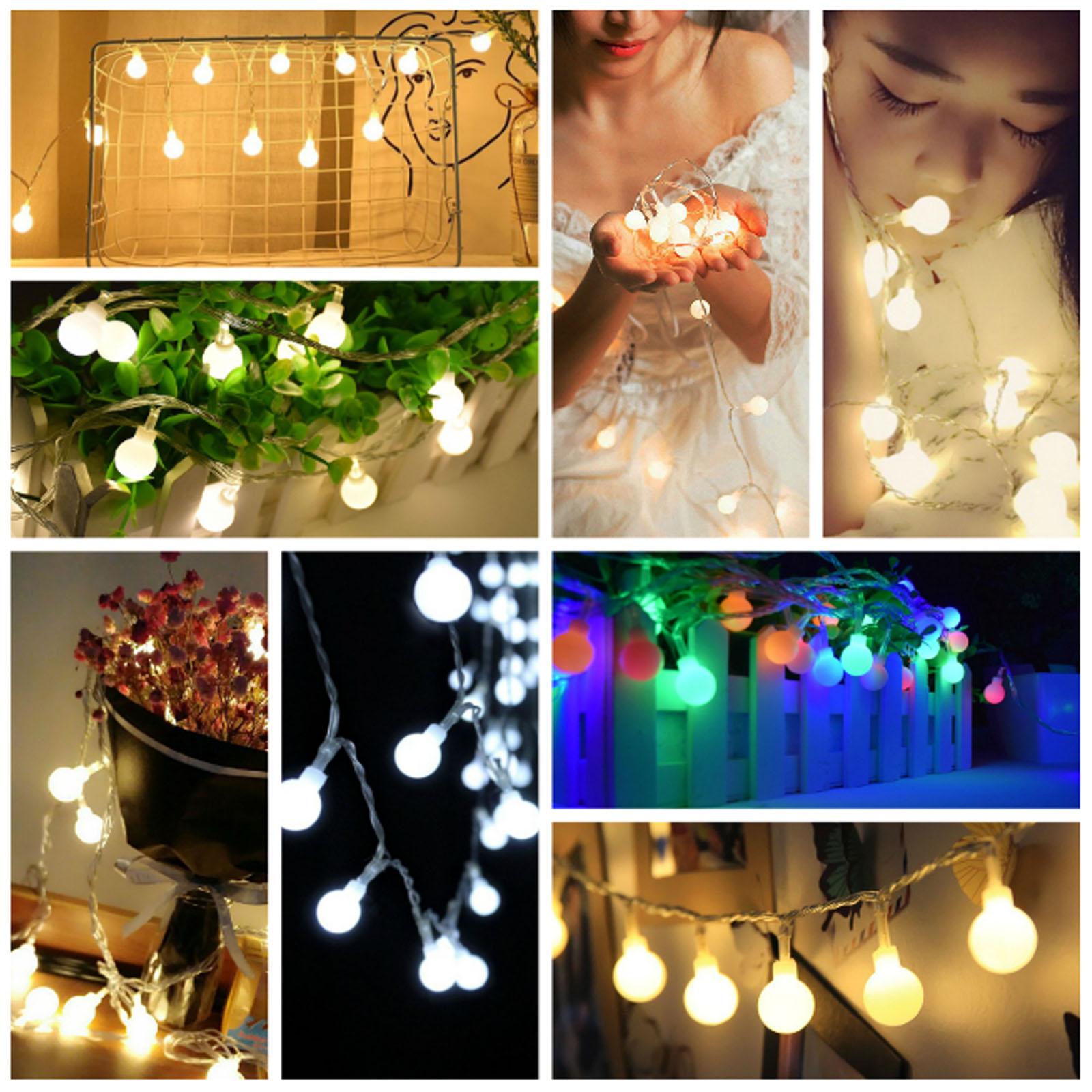 1M 2M 3M 4M 5M LED String Fairy Lights Christmas Round Ball Blubs Wedding Party Lamp 10 20 30 40 50LEDS Party DIY Decor Lighting