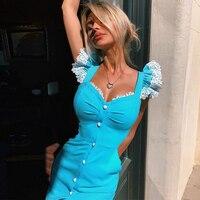 Ocstrade مطرز الدانتيل ضمادة فستان 2020 جديد وصول الصيف المرأة مثير أكوا الأزرق ضمادة فستان Bodycon نادي مساء فستان الحفلات