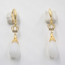 PURE 925 Sterling Silver Dangle ต่างหูหยกธรรมชาติ Nephrite Bud Crown Drop ต่างหู(China)