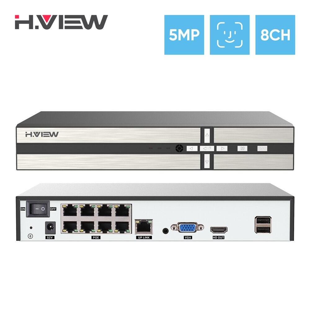 H.View – enregistreur vidéo en réseau H.265, 5mp, 8 canaux, Poe, Nvr, système de sécurité Cctv, détection de visage, Audio, pour caméra Ip Onvif 1
