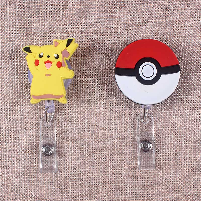 New Cartoon 60cm Silicone Cute Pokemon Retractable Badge Reel Student Nurse Exhibition Enfermera Name Card ID Card Chest