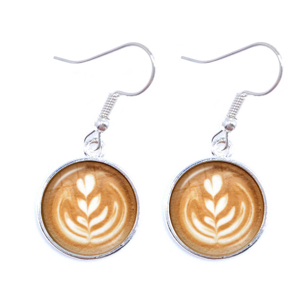 Coffee Latte Carving Love Heart Art Drop Earrings Chocolate Printing Flower Four Leaf Clover Charm Jewelry For Women Girls Gift
