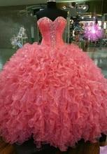 Luxo swettheart miçangas cristais vestido de baile sem mangas quinceanera vestidos rendas até 15 anos vestidos de 15 anos anos