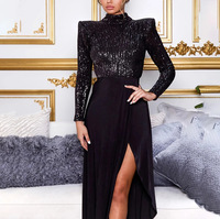Patchwork Black Sequined Halter Party Dress Backless Long Dresses Split Leg Night Club Dresse