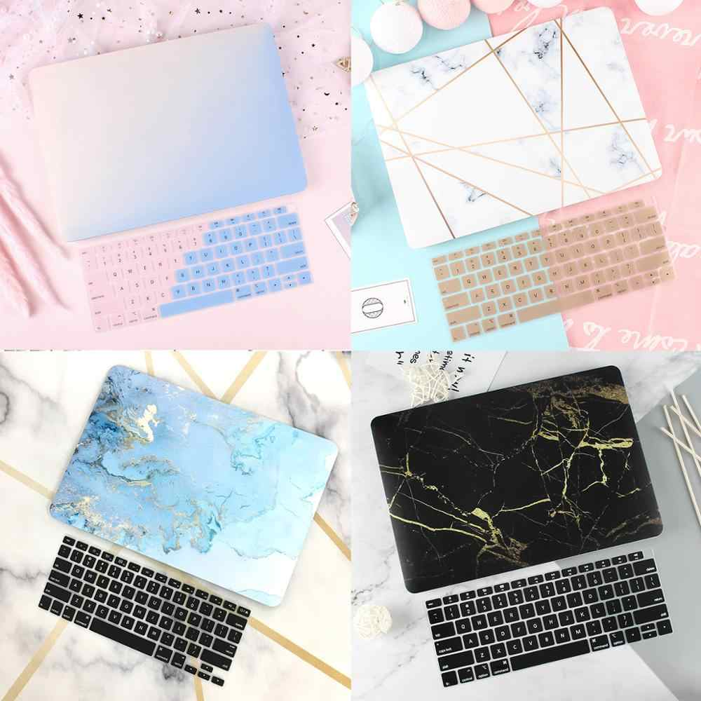 "Karet Matte Laptop Case Cover untuk Mac Book Air 13 2020 MAC BOOK 2019 Retina Pro 13 15 ""Touch Bar a1989 A2289 + Keyboard Cover"