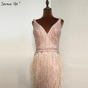 Image 3 - Ruhigen Hill Perlen V ausschnitt Luxus Abendkleider 2020 Ärmellose Federn Meerjungfrau Formale Kleid DLA70440