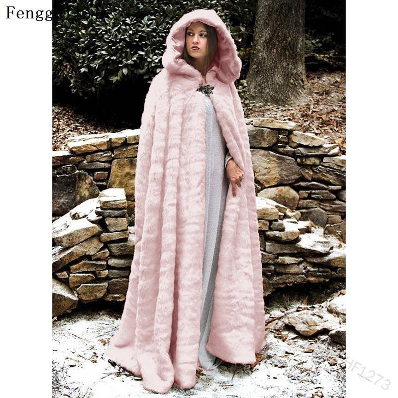 Médiéval Vintage hiver fausse fourrure longue cape à capuche pour les femmes chaud neige blanche robe Maxi mariée Capes de mariage manteau
