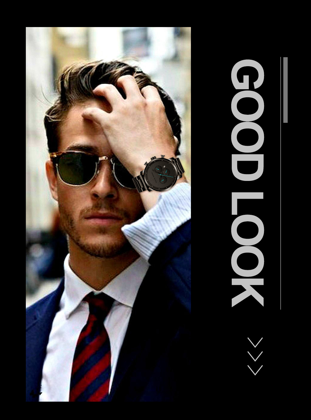 He898285199d7432e939fb94f5a5874ecp DropShipping Big Dial 45mm Full Black Stainless Steel Multi-function Calendar Men's Top Brand Luxury Watches Relogio Masculino