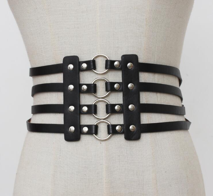 Women's Runway Fashion Vintage Pu Leather Cummerbunds Female Dress Corsets Waistband Belts Decoration Wide Belt R1860