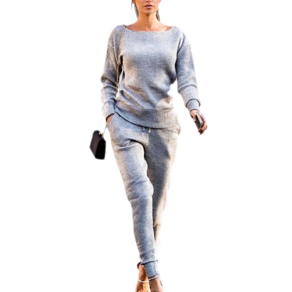 Laamei 秋と冬のカジュアル無地長袖ラウンドネックピットスポーツスーツ婦人服ブラウスパンツセットホット