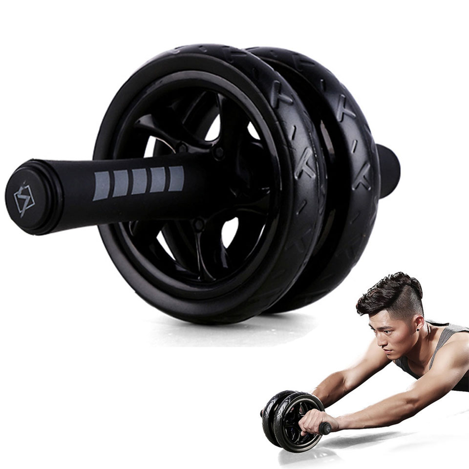 Gym Equipment Double-wheeled Keep Fit Wheels No Noise Abdominal Wheel Ab Roller With Mat For Exercise Fitness Equipment