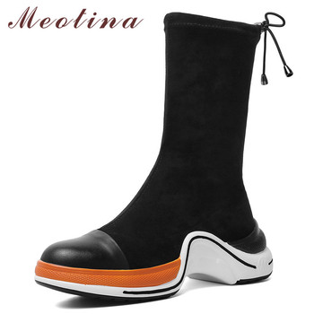Meotina Fall Ankle Boots Women Natural Genuine Leather Flat Platform Short Boots Slim Stretch Round Toe Shoes Lady Winter 34-43