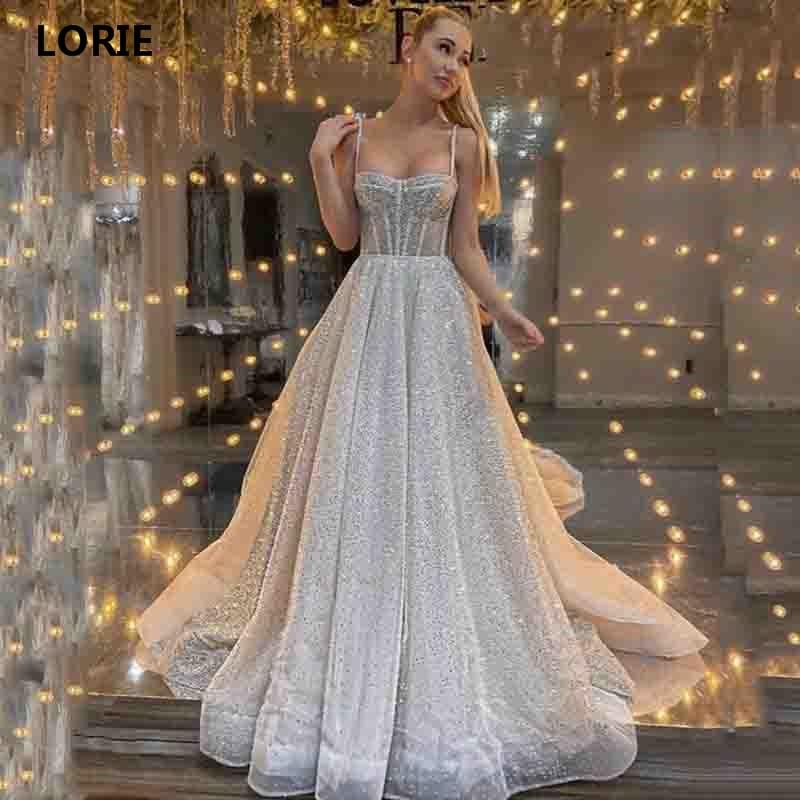 LORIE A Line Boho Wedding Dresses Glitter Tulle Sexy Spaghetti Straps Bride Dresses Vestidos De Novia Custom Made