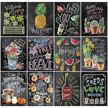 HUACAN Full Drill Square Diamond Painting 5D Fruit Embroidery Cross Stitch Text Home Decoration Art - discount item  26% OFF Arts,Crafts & Sewing