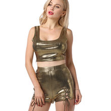 PU 반짝 이는 순수한 색상 멀티 Euramerican 섹시한 패션 탑 새로운 반바지 조끼 정장 핫 스탬핑 반사 두 조각 세트