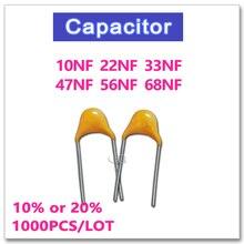 JASNPROSMA CT4 5,08mm monolítico condensador de cerámica 1000 Uds 50V 10NF 22NF 33NF 47NF 56NF 68NF 10% K 20% M 103, 223, 333, 473, 563, 683