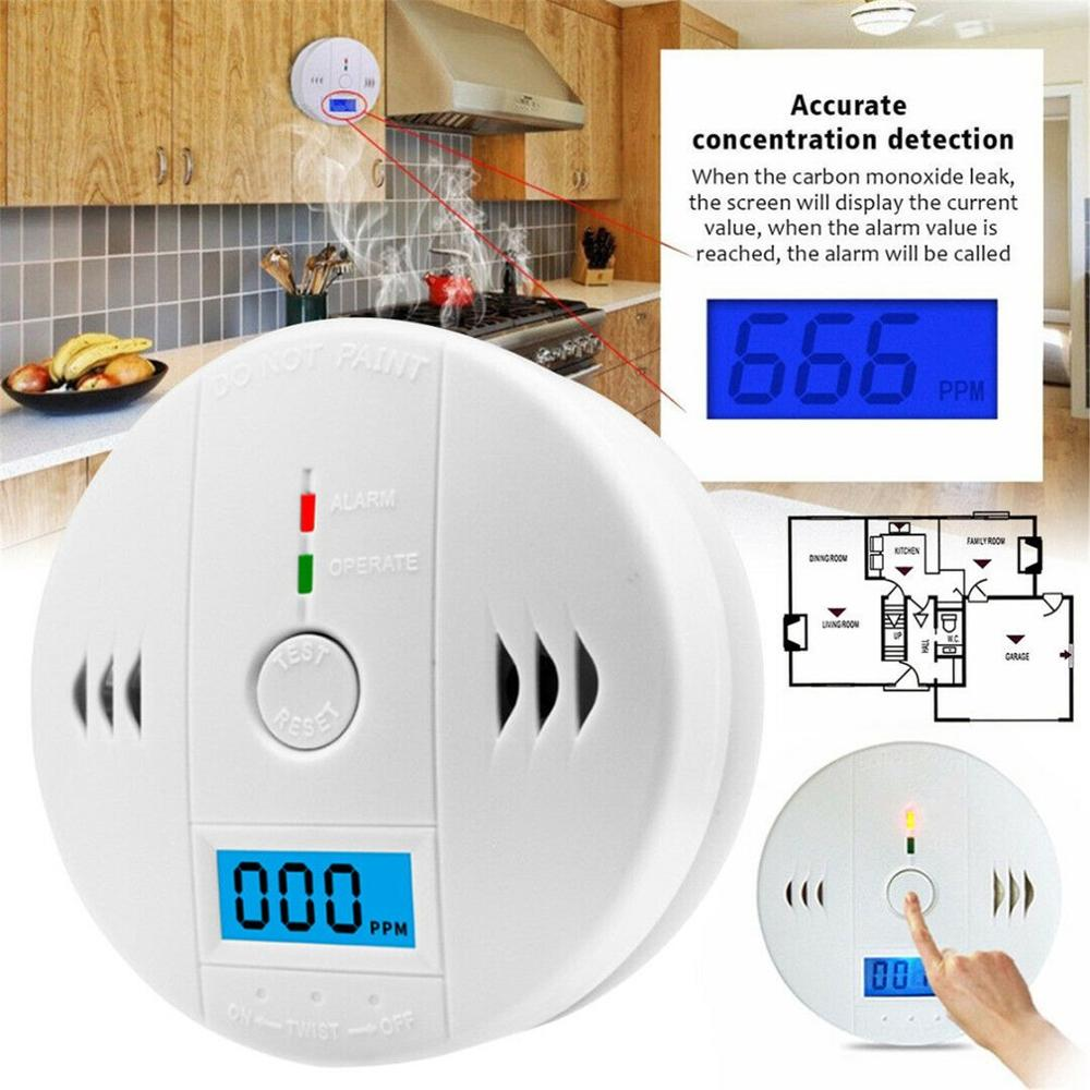 LCD Carbon Monoxide Detector Alarm CO Gas Warning Sensor Alarm Monitor Tester Home Security Carbon Monoxide Smart Sensor