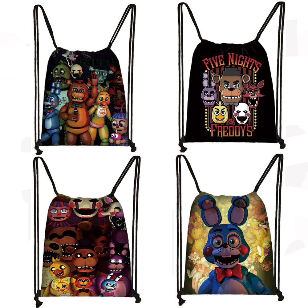 Cartoon Five Nights At Freddy's Drawstring Bag FNAF Storage Bags Freddy Bear Bonnie Rabbit Foxy Chica Backpack Kids Bookbag