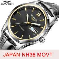 GUANQIN Meccanico uomini Della Vigilanza Del Giappone NH36 Movimento Automatico degli uomini orologi top brand di lusso Zaffiro impermeabile Relogio Masculino