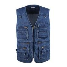 Men Vest Jackets Waistcoat Sleeveless Denim 10XL Outdoors Plus-Size Cotton Casual Blue