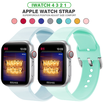 Strap For Apple Watch band 38mm 42mm iWatch 4 band 44mm 40mm Sport Silicone belt Bracelet correa Apple watch 4 3 2 1 Accessories