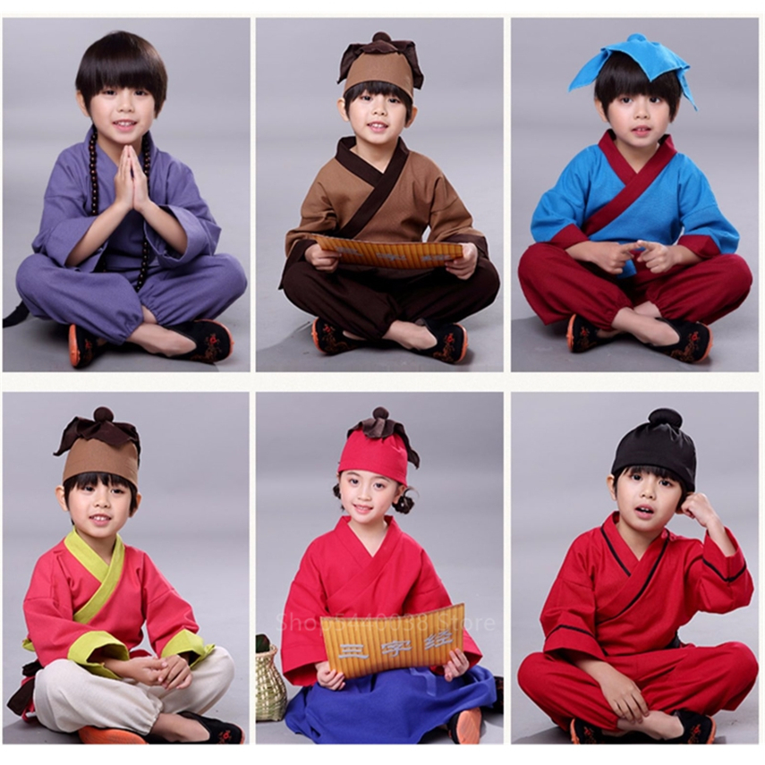 Children Chinese Traditional Clothing 8Colors Boys Girls Stage Performance Hanfu Classical Ancient Folk Dance Costumes