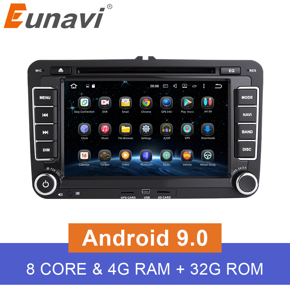 Eunavi 2 Din Android 9 0 Car DVD Player Audio Radio GPS navigation For VW GOLF