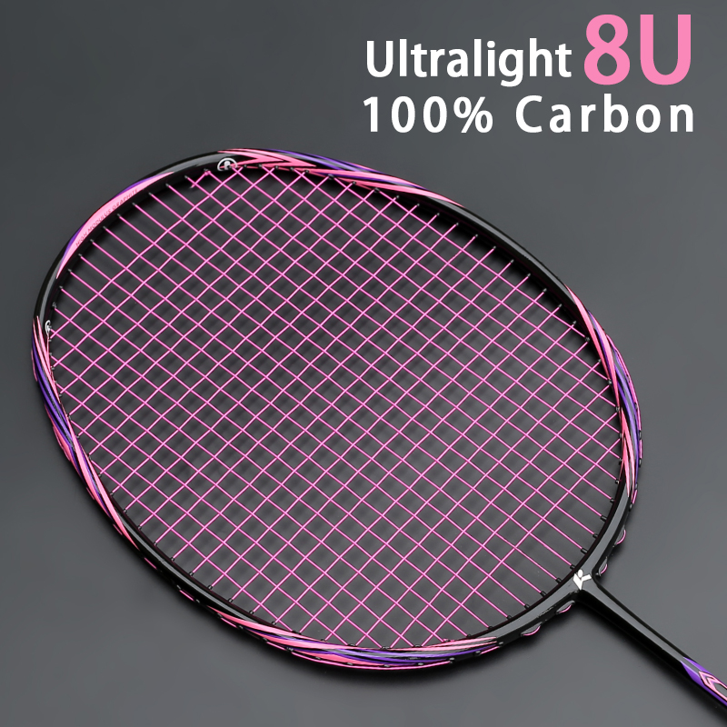 Top Quality Super Light 8U 62-67G Carbon Fiber Strung Badminton Rackets Offensive Type Racket Free Strings Bags Sports Racquet