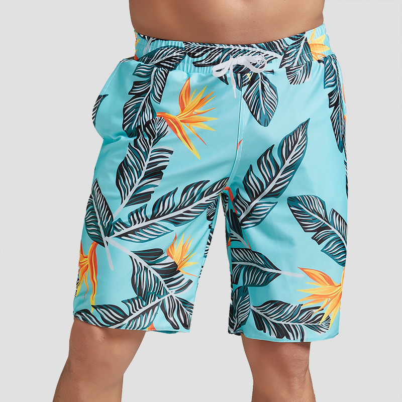 2019 Men Quick-Dry Casual Beach Shorts Seaside Holiday Loose-Fit Short Large Size Flower Pants Trend Youth Shorts