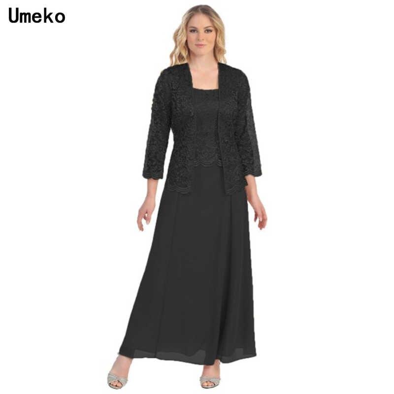 Umeko Nieuwe 2019 Elegante Vrouwen Dames Lange Chiffon Jurk Moeder Van Bruidegom Jurk Kanten Lange Mouw Jasje Party Dress Vestidos vrouwelijke