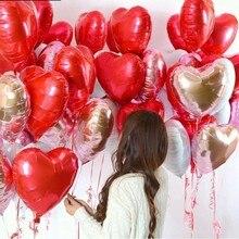 10 pçs 18 Polegada rosa ouro vermelho folha coração balões amor romântico coração balão da folha balões festa de aniversário do casamento decoração