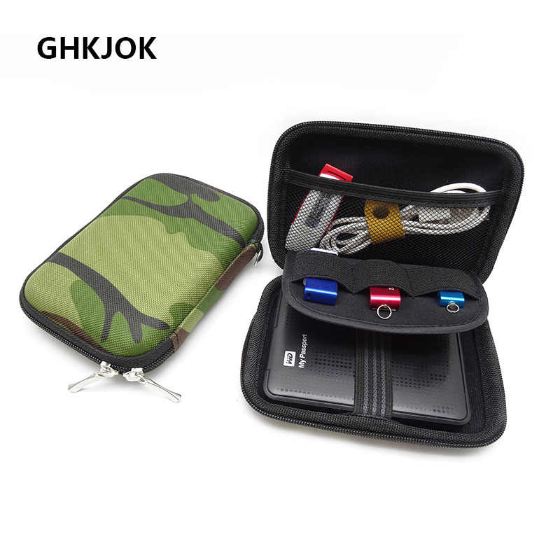 Portable Carrying Hard Case Cover for 2.5 inch Power Bank Earphone USB external WD seagate HDD Hard Disk Drive Protect Bag