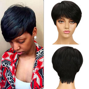 Pixie Wig Short Maxine-Machine Human-Hair Black Natural Women 6inch for Made Wig150%Remy